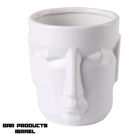 כוס טיקי Face לבנה