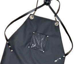 סינר דמוי עור שחור מעוצב