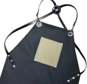 סינר דמוי עור שחור מעוצב חאקי