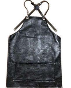 סינר דמוי עור סקאי שחור עם כיס