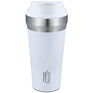 כוס תרמית בצבע לבן מט בשילוב של נירוסטה